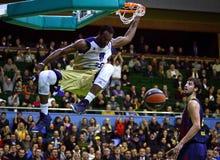 Euroleague篮球比赛Budivelnik Kyiv对巴塞罗那足球俱乐部 免版税库存图片