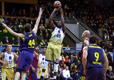 Euroleague basketball game Budivelnik Kyiv vs FC Barcelona Stock Photos