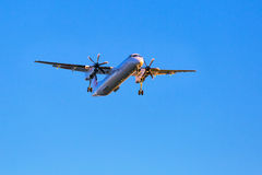 Eurolot aircraft landing on the airport Royalty Free Stock Images