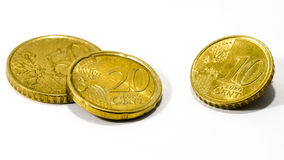 Euromünze über Weiß Lizenzfreie Stockfotos