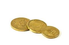 Euromünze über Weiß Stockfoto