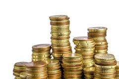 Euromünze auf Weiß Stockbilder