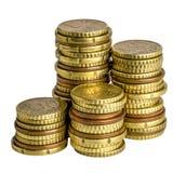 Euromünze auf Weiß Stockfoto