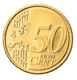 Euromünze getrennt auf Weiß Stockfotografie