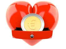 Euromünze innerhalb des Herzens vektor abbildung