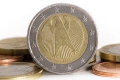 Euromünze mit Adler Lizenzfreies Stockbild