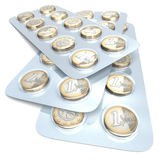 Euromünzen in der Blisterpackung Stockbilder