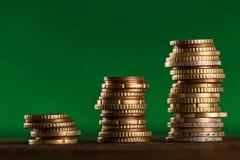Euromünzen gestapelt auf einander Lizenzfreies Stockbild