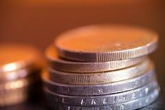 Euromünzen gestapelt auf einander nahes hohes Lizenzfreies Stockfoto