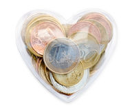 Euromünzen im Liebesinnerkasten Stockfotos