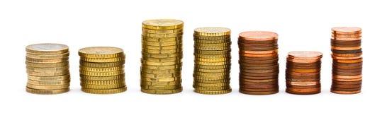Euromünzen-Stapel lizenzfreie stockbilder
