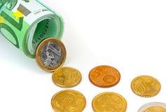 Euromünzen und Banknoten Stockfotografie