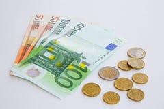 Euromünzen und Banknoten Lizenzfreies Stockfoto