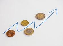 Euromünzen und Diagramm des Wachstums Lizenzfreies Stockfoto