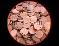 Euromünzen unter Schießen lizenzfreie stockfotografie