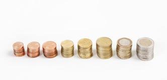 Euromünzen von der Seite Lizenzfreie Stockbilder