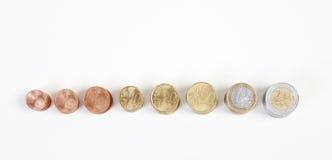 Euromünzen von oben Stockbilder