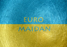 Euromaidan - Euro square motif with the flag of Ukraine Stock Photos