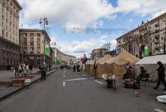 Euromaidan, Kyiv después de la protesta Foto de archivo libre de regalías