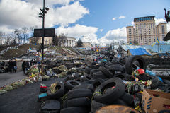 Euromaidan, Kyiv after protest. Euromaidan (Ukrainian: Євромайдан, Yevromaidan, literally 'Eurosquare') is a wave of demonstrations, civil unrest and royalty free stock photo
