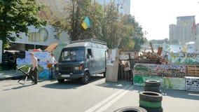 Euromaidan, trzy dnia przed zderzeniami z rzędem obraz stock