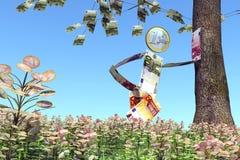 Euromann, der an einem Baum sich lehnt stock abbildung
