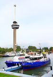 Euromast and police boats in Rotterdam, the Netherlands Stock Image