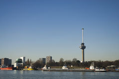 Euromast Rotterdam. Skyline Rotterdam with euromast and canal Stock Photos