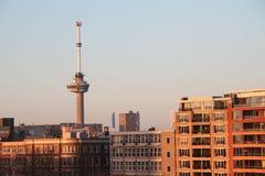 Euromast torn av Rotterdam, Nederländerna på soluppgång Arkivbilder