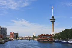 Euromast tower in the city of Rotterdam. Euromast tower with revolving restaurant behind the floating Chinese restaurant at Rotterdam, Netherlands Royalty Free Stock Photo
