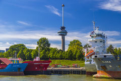 Euromast Tower in Port of Rotterdam, Holland Royalty Free Stock Image