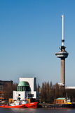Euromast tower and river Mass. Rotterdam Stock Images