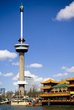Euromast tower in Rotterdam. Euromast tower in the city of Rotterdam Royalty Free Stock Photo