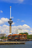 Euromast Tower at Rotterdam. With the floating Chinese Hotel Restaurant Stock Image