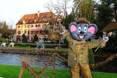 Euromaus Ed sculpture in park landscape. The mascot Euromaus Ed in Europa Park Rust, Germany, at the 40st anniversary - welcomes for the Christmas season. The Stock Images