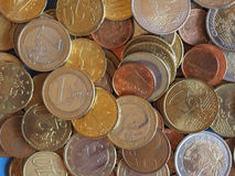 Euromynt, bakgrund för europeisk union Arkivfoto