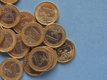Euromynt, europeisk union över blått med kopieringsutrymme Royaltyfri Bild