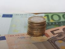 1 euromynt, europeisk union Arkivfoto