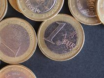 1 euromynt, europeisk union Arkivfoton