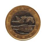 1 euromynt, europeisk union, Finland isolerade över vit Arkivfoto