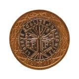 1 euromynt, europeisk union, Frankrike isolerade över vit Arkivfoton