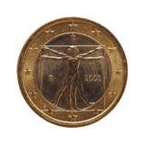 1 euromynt, europeisk union, Italien isolerade över vit Royaltyfri Bild
