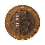 1 euromynt, europeisk union, Luxembourg isolerade över vit Royaltyfri Bild