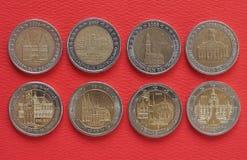 2 euromynt, europeisk union, Tyskland Arkivfoto