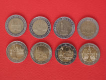 2 euromynt, europeisk union, Tyskland Fotografering för Bildbyråer
