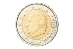 Euromynt för belgare två royaltyfria bilder