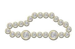 Euromynt i formen av en bil Royaltyfri Foto