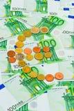 Euromynt och sedlar Royaltyfri Fotografi