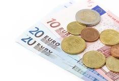 Euromynt och sedlar Arkivfoton