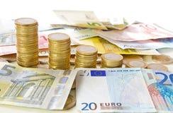 Euromynt och sedlar Fotografering för Bildbyråer
